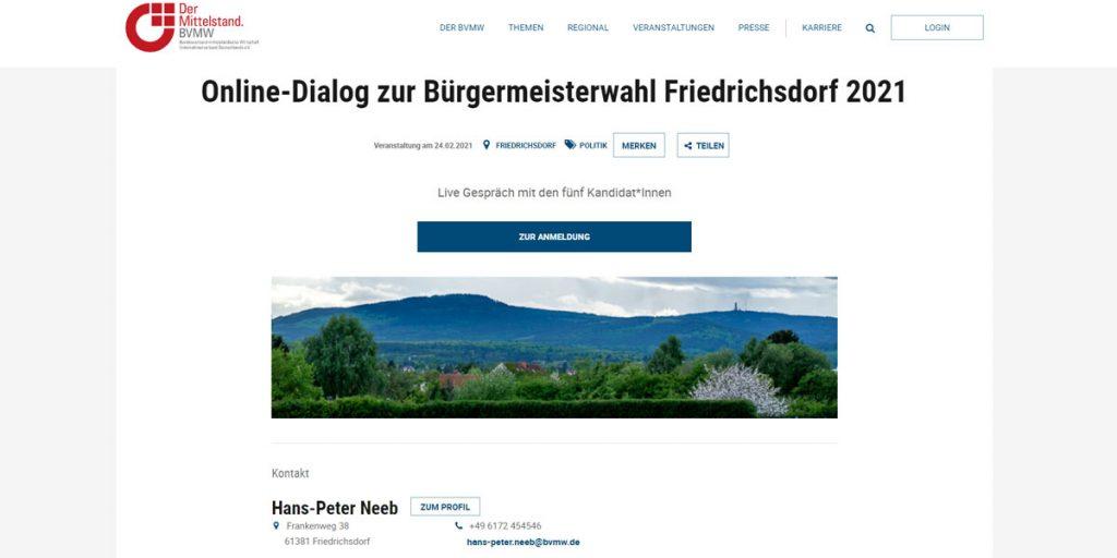 "Screenshot Event ""Online-Dialog zur Bürgermeisterwahl Friedrichsdorf 2021"" BVMW Webseite"