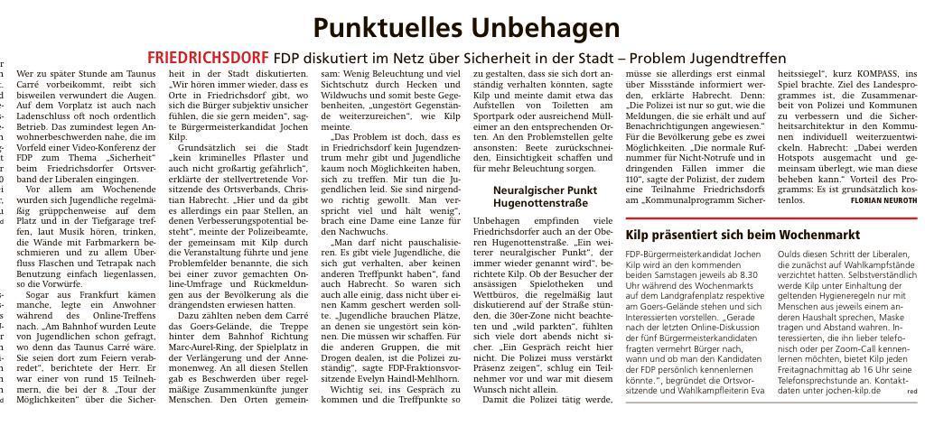 Foto Presseartikel - Punktuelles Unbehagen - FDP Friedrichsdorf