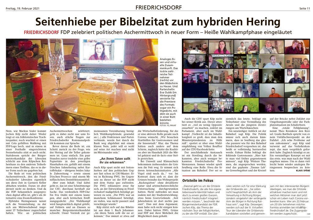Foto Presseartikel - Seitenhiebe per Bibelzitat - FDP Friedrichsdorf